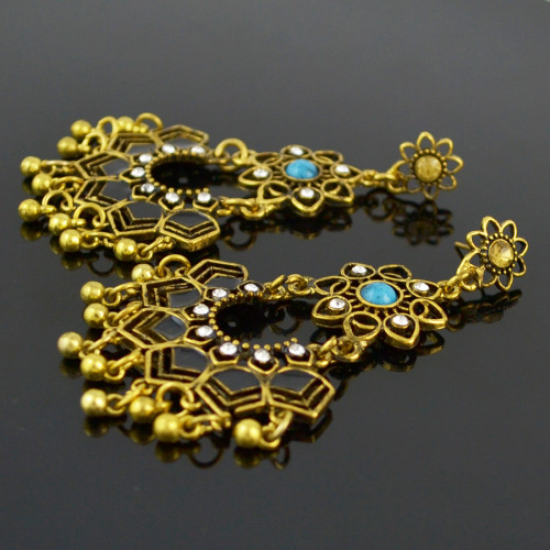 E-4536 New Fashion Gold Plated Alloy Crystal turquoise Metal ball pendant earrings Jewelry