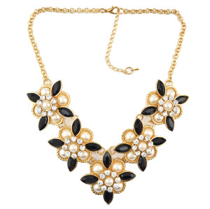 N-0051 Bohemia 2 Styles Faux Pearl Flower Rhinestone Gold Plated Chain Statement Necklace Women Jewelry N-0027