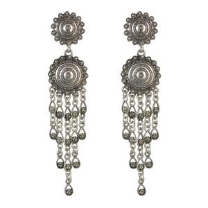 E-4537 Vintage Bohemian Statement Earring Long Tassels Pendant Drop Earrings