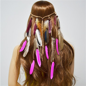 F-0481 Bohemian Handmade Ethnic Gypsy Wood Beads Feather  Hairband Hair Clip Hair Jewelry