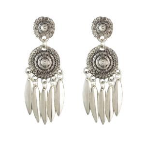 E-4538 Vintage Silver Alloy Geometric Hoop Pendant Dangle Earrings Women Jewelry