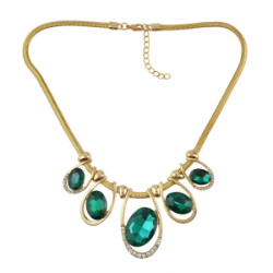 N-0290 Fashion Gold  Metal Green Crystal Clear Rhinestone Pendant Choker Necklaces for Women Bohemian Party Jewelry