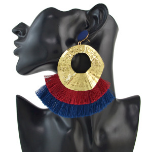 E-4540 3 Colors Bohemian  Women Multilayer Thread Tassel Gold Irregularity Round Elegant Earrings