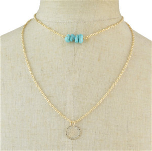 N-7030 2 Colors Trendy Simple Turquoise Pendant Necklace for Women Jewelry
