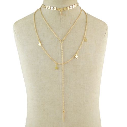 N-7031 New Fashion 2 Colors Gold Silver star crescent Pendant Chain Necklace Jewelry