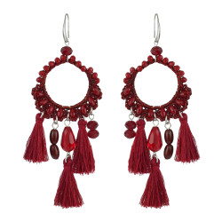 E-4541 Bohemian Handmade Drop Dangle Earrings Big Long Pendant Tassels Statement Earring