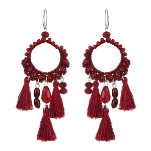E-4541 Bohemian Handmade Drop Dangle Earrings Big Long Pendant Tassels Statement Earring