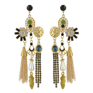 E-4542 New Fashion Gold Plated Pearl Crystal Rhinestone Leaf pendant Earrings Jewelry