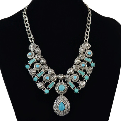 N-5614 Bohemia Silver Natural Turquoise Alloy Chain Statement Pendant Necklace For Women Engagement Jewelry