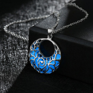 N-7035 Bohemia Silver Floserescence  Natural Alloy Chain  Pendant Necklace For Women Engagement Jewelry