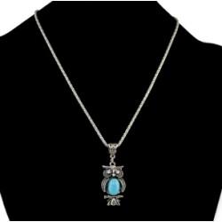 N-5743  E-3551 Fashion Silver Link Chain Rhinestone Owl Shape Pendant Necklace Earrings Set