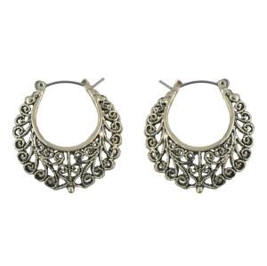 E-4544 Fashion Personality Hollow Vintage Flower Pattern  Long Silver Geometric Arc Shaped Drop Earrings Stud Earring for Women
