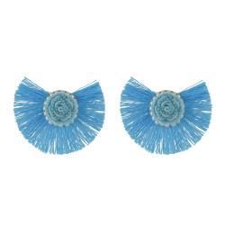 E-4545 Bohemian Tassels Pearl Flower Stud Earring Wedding Engagement Ear Jewelry
