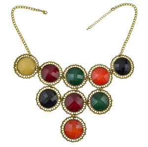 N-0765 Bohemian Plastic Bead Gold Alloy Chain Pendant Necklace For Women Engagement Gift