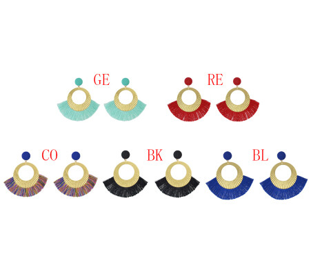 E-4547 6 Colors Bohemian Cotton Tassel Drop Earrings for Women Party Anniversary Gift