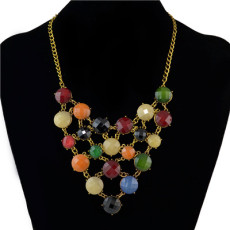 N-0755 Trendy Bohemian Acrylic Bead Gold Alloy Chain Pendant Necklace For Women Jewelry