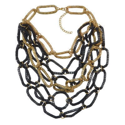 N-1013 New Arrival European Style Gold Black Link Snake Chain Choker Necklace