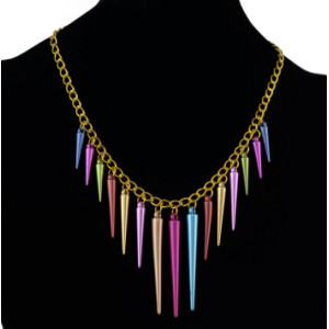 N-1307 Punk Gold Chain Colorful Rivet Pendant Necklaces For Women Bohemian Party Anniversary Jewelry