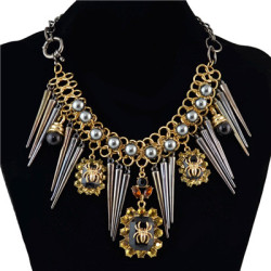 N-1354 Dark Black Style Awl Spider Bead Gold Plated Necklace Cool Jewelry