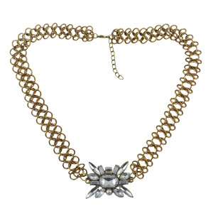 N-1355 New Fashion gold plated metal link chain clear crystal flower choker necklace