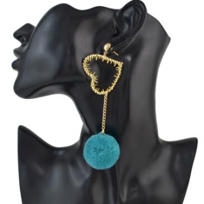 E-4550 Korean Sweet Long Pompom Drop Earrings Plush Ball Heart Pendant  Earring Women Girls Ear Accessory