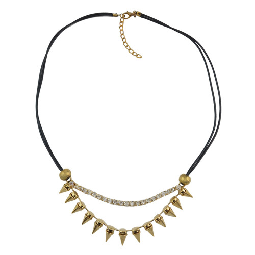 N-1279 Punk Personality Rivet Rhinestone Pendant Necklace Leather Chain Necklaces