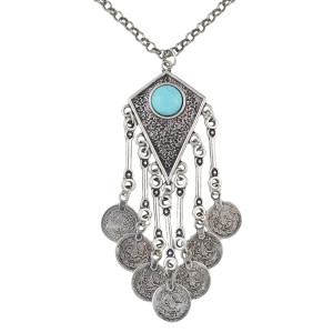N-5365 Bohemia Vintage Tassels Coin Turquoise Silver Plated Alloy Necklace Pendant For Women Jewelry