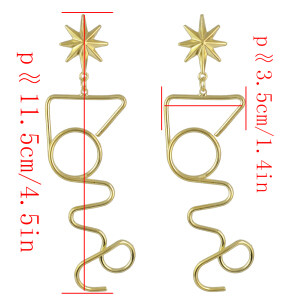 E-4548 Unique Gold Silver Alloy Geometric Shape Long Drop Earrings for Women Bohemian Party Anniversary Jewelry