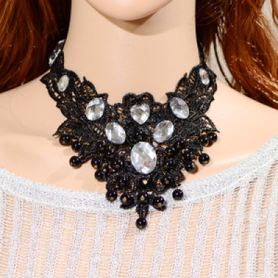N-1637 Gothic&Punk Personality Crystal Rhinestone Choker  Necklace Ribbon Chain Sweater  Necklaces