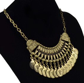 N-5273 Bohemia Vintage Tassels Coin Gold Plated Alloy Necklace Pendant For Women Jewelry