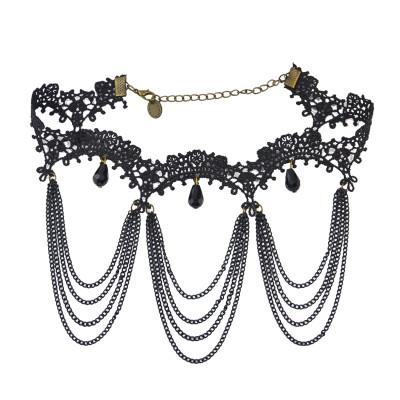 N-1613 New Fashion Gothic Black Lace Acrylic Drop Tassel Choker Necklace Jewelry