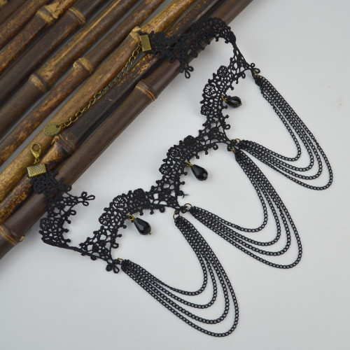 N-1613 New Fashion Gothic Black Lace Acrylic Drop Tassel Choker Necklace Jewelry