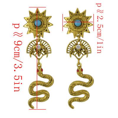 E-4549 2 Colors Trendy Retro Snake Punk Metal Rhinestone Party Earrings