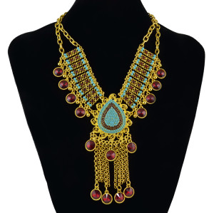 N-7039 Bohemian Statement Necklace Gold Plated Chain Beaded Tassels Pendant Fringe Necklcace