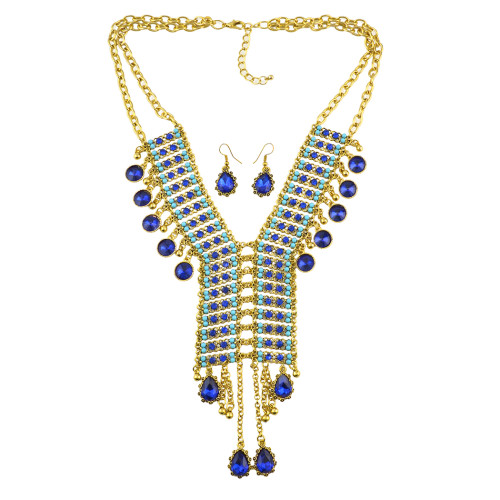 N-7040 Bohemian Golden  Gold Plated Chain Resins Beads Crystal Pendant Necklace Earring sets Women's Wedding Gift