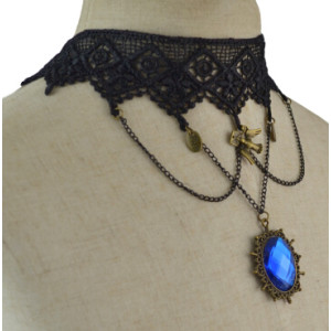 N-1640 Gothic & Punk Personality Crystal Rhinestone Choker Necklace Ribbon Chain Sweater  Necklaces
