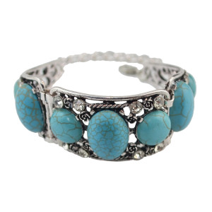B-0881 Bohemia Summer Silver Alloy Turquoise Crystal Bangle Bracelet Women's Engagement Jewelry Gift