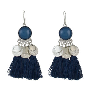 E-4552 Bohemia Tassel Thread Drop Earrings Silver Hook Earring