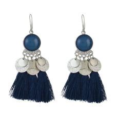 E-4552 Bohemia Tassel Thread Drop Earrings Silver Hook Earring