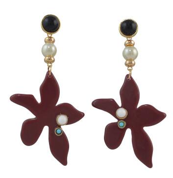 E-4553 6 Colors Flower Shape Acrylic Metal Pearl Drop Earrings for Women Bohemian Party Jewelry