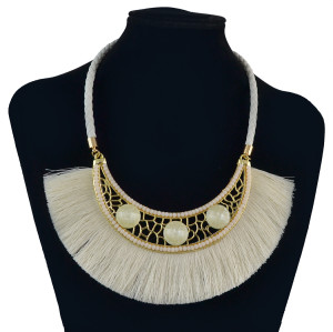 N-7045 Bohemia Leather Chain Thread Tassels Crystal Beaded Choker Necklace for Women