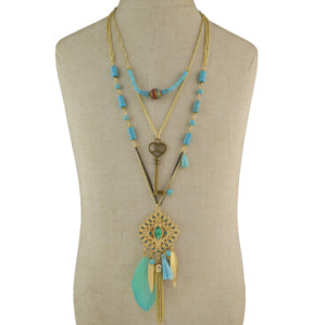 N-5800 Bohemian Vintage 3 Multilayers Long Chain Pendant Tassel Leaf Natural Turquoise Necklace