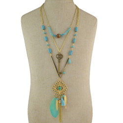N-5800 Bohemian Vintage 3 Multilayers Long Chain Pendant Tassel Leaf Natural Turquoise Necklace