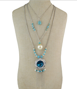 N-5799 Bohemian Multilayers Silver Metal Turquoise Crystal Pendant Necklaces for Women Party Wedding Jewelry