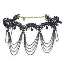 N-1600 New Gothic Vintage Style Black Lace Flower acrylic drop tassels Choker Necklace adjustable