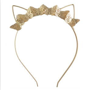 F-0483 Children Handmade Gold Cat Ear Catgirl  Nekomimi Cute Hairband Headband Hair Jewelry Butterfly Accessory