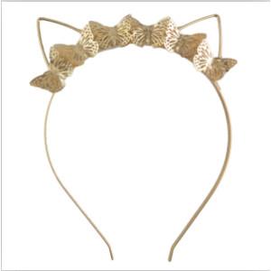 F-0483 Children Handmade Gold Cat Ear Catgirl  Nekomimi Cute Hairband Headband Hair Jewelry Butterfly Accessory