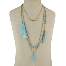 N-5798 Trendy Long Gold-Plated Chain Turquoise Women Tassel Necklace