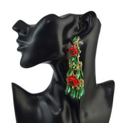 E-4556 4 Colors Fashion Resin Beads Flower Shape Long Drop Earrings for Women Lady Wedding Party Jewelry