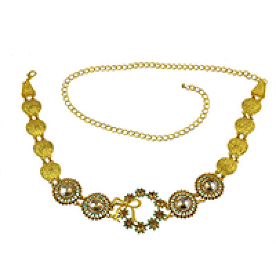 N-7047 *  Indian Style 14K Gold Plated Metal Crystal Flower Turquoise Belly Chains Dancing Summer Beach Sexy Body Jewelry